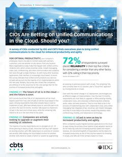 Screen Shot - Why CIO's are choosing UC in the Cloud - IDG QuickPulse Whitepaper